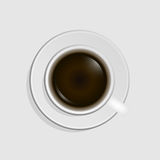 咖啡杯查出在顶视图白色 免版税图库摄影