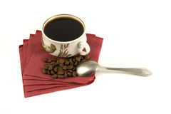 咖啡杯查出的餐巾红色 免版税库存照片