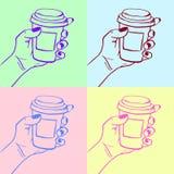 咖啡杯流行艺术传染媒介例证 库存例证