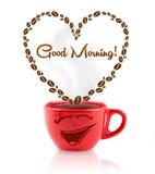 咖啡杯用咖啡豆塑造了与早晨好标志的心脏 免版税图库摄影