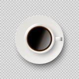 咖啡杯用在透明背景和茶碟隔绝的咖啡 传染媒介现实设计元素 库存例证