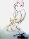 从咖啡杯的灵魔女孩 图库摄影