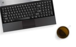 咖啡杯膝上型计算机 也corel凹道例证向量 免版税库存图片
