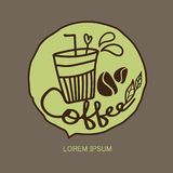 咖啡杯象,咖啡馆商标设计模板,餐馆和咖啡馆热的饮料标志,绿茶杯子传染媒介 皇族释放例证