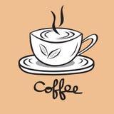 咖啡杯象,咖啡馆商标设计模板,餐馆和咖啡馆热的饮料标志,绿茶杯子 库存例证