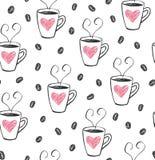咖啡杯逗人喜爱的样式传染媒介 向量例证