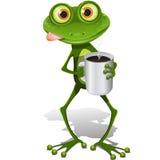 咖啡杯青蛙 免版税库存照片
