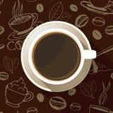 咖啡杯顶视图平的象 库存照片
