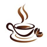 咖啡杯,图标草图  免版税图库摄影