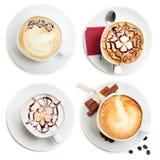 咖啡杯,热奶咖啡集合 库存图片