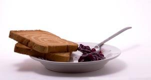 咖啡果酱面包干匙子 免版税库存图片
