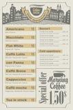 咖啡查出的菜单白色 免版税库存图片