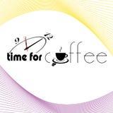 咖啡标志的时刻与时钟例证 免版税库存照片