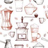咖啡模式无缝的向量 免版税库存图片