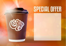 咖啡横幅概念桔子背景 eps10开花橙色模式缝制的rac ric缝的镶边修整向量墙纸黄色 免版税图库摄影