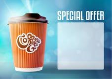 咖啡横幅概念蓝色背景 eps10开花橙色模式缝制的rac ric缝的镶边修整向量墙纸黄色 免版税库存照片