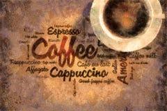 咖啡油被绘的字 免版税库存照片