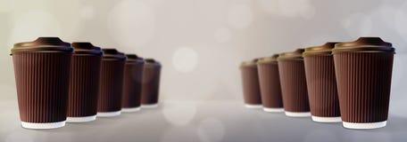 咖啡波纹杯Bokeh灰色背景 免版税图库摄影