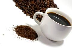 咖啡渣和豆 图库摄影