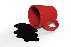 咖啡溢出 免版税库存图片