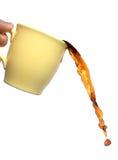 咖啡溢出 免版税库存照片