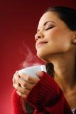 咖啡热妇女 免版税库存照片