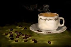 咖啡热通入蒸汽的时间 库存图片
