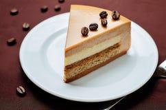 咖啡焦糖奶油brulee奶油甜点蛋糕 免版税库存照片
