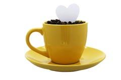咖啡爱黄色 免版税图库摄影