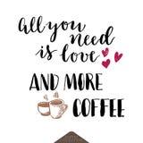 咖啡现代字法海报 免版税库存图片