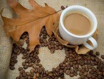 咖啡用在一个白色杯子的牛奶用咖啡豆和一片干燥叶子 库存图片