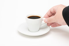 咖啡用手 库存照片