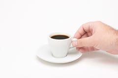 咖啡用手 免版税库存照片