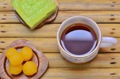咖啡用泰国点心 库存图片