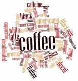 咖啡的字云彩 库存图片