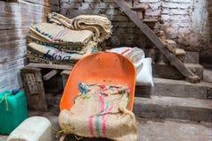 咖啡的粗麻布大袋 图库摄影