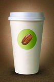 咖啡的纸杯与商标 图库摄影