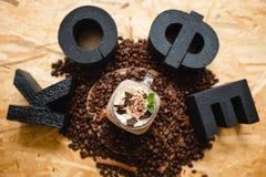 咖啡的题字在俄语的 免版税图库摄影