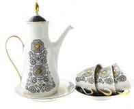 咖啡的,杯子,茶碟,咖啡罐玻璃器皿 图库摄影