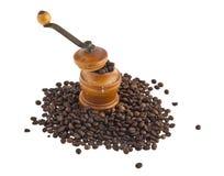 咖啡研磨机和咖啡 库存图片