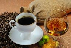 咖啡科涅克白兰地 库存照片