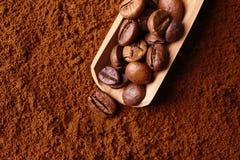咖啡粉末用豆, 图库摄影