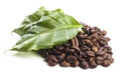 咖啡粒和叶子 免版税库存照片
