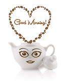 咖啡罐用咖啡豆塑造了与早晨好标志的心脏 免版税库存图片