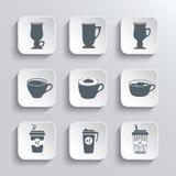 咖啡网象在黑白设置了 免版税库存照片
