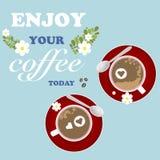 咖啡背景花心脏浪漫难看的东西 库存图片