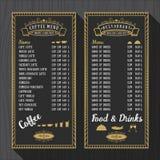 咖啡菜单和餐馆菜单模板 向量例证