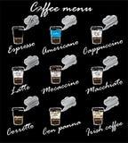 咖啡菜单-剪影 免版税库存照片