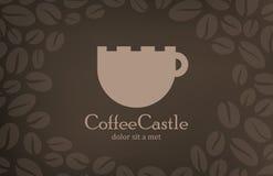 咖啡葡萄酒商标设计模板。咖啡馆菜单cov 免版税库存照片