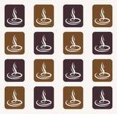 咖啡蒸汽的咖啡背景无缝的样式 图库摄影